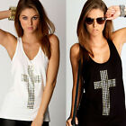 Fashion Womens Sexy Solid Racer Vest Tank Tops Cross Print Sleeveless T Shirt