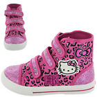 Girls SIZE 8 - 2 HELLO KITTY Pink Velcro Canvas Pumps Trainers Boots NEW