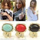 Fashion Vintage Gothic Punk Gold Tone Big Oval Turquoise Ring Jewelry Party