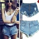 HOT Sexy  Womens Denim Hotpants Vintage Cut Off High Waisted Denim Shorts 8-14