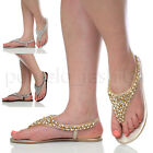 WOMENS LADIES SLINGBACK SUMMER BEADED JEWELLED FLAT TOE POST SANDALS SIZE