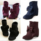Womens Hidden Wedge Heel Bowknot Pull On Roma Sweet Ankle Boots Shoes Plus Sz