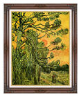 Framed Pine Trees Against a Red Sky Vincent van Gogh Repro Giclee Fine Art Print