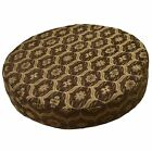 we61r Brown Damask Check Chenille Round 3D Box Shape Sofa Seat Cushion Cover