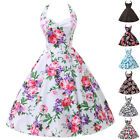 ❤UK Stock Vintage50s 60s Pinup Mini Dresses Housewife Drance Evening Party Dress