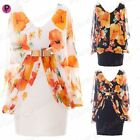 Womens Ladies Floral Stretch Gold Belt Chiffon Batwing V Neck Bodycon Mini Dress