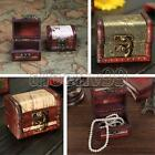 Vintage Stamp Flower Small Metal Lock Jewelry Wood Box Storage Organizer Display