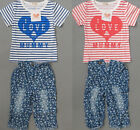 Mom/Papa Baby Girls Stripe Short Sleeve Clothes T shirt+Pants Outfit Suit 6M-5Y