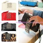 Womens Lady Girls Leather Handbag Rivet Stud Clutch Coin Purse Card Wallet Bag