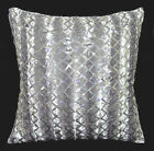 (ms04a) Ash Grey Silver Shimmer Silver Sequins Checked Decorative Cushion Cover