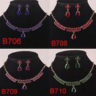 Chic Girls 14k Gold Filled Wedding Drop Cut Necklace Earrings Set In 4 Colors