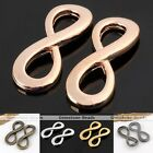 Side Ways Curved Smooth Infinity 8 Metal Bracelet Connector Beads Charm Findings