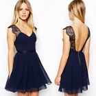 Summer Sexy Womens V Neck Backless Lace Chiffon Evening Party Skater Mini Dress