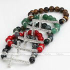 Crystal Cross Agate Turquoise Tiger Eye Gemstone Spacer Beads Bracelet Bangle