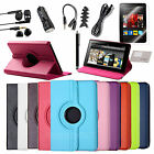 """For Amazon Kindle Fire 7"""" 1st Gen Rotating PU Leather Case/Protector/Pen Bundles"""