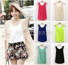Womens Chiffon Double Layer Sleeveless Loose Tank Vest T-shirt Blouses Tops WFR