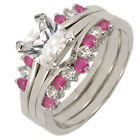 1.6CT Silver 925 Square Synthetic Ruby Bridal Wedding 3pcs Ring Set SZ 5-10