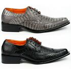 Ferro Aldo Mens Crocodile Print Lace up Oxford Dress Shoes M-109060