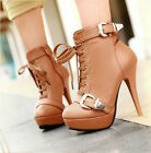 new womens lace up ankle strap buckle stilettos boots high heel platform shoes