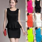 Sexy Ladies Women Cocktail Evening Party Bodycon Peplum Frill Slim Mini Dress