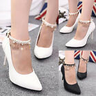 Womens Ankle Strap Crystal Chain Pointy Toe High Heels Classic Pumps Prom Shoes