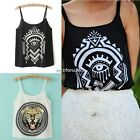 Women Adjustable Spaghetti Strap Tiger Geometry Pattern Tank Top Camisole Vests