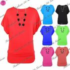 Womens Ladies Batwing Sleeves Boat Neck Baggy Side Ruched Necklace T Shirt Top