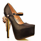 NEW Ladies Black High Ankle Strap Gold Chain Stiletto Platform Pumps Shoes Size