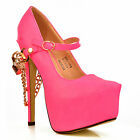 NEW Ladies Neon Pink Ankle Strap Gold Chain Stiletto Platform Pumps Shoes Size
