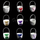 Satin Girl Flower Baskets Wedding Bridal Rhinestone Color Bowknot Page Boy Decor