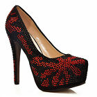NEW Womens Black & Red Rhinestone Platform Stiletto High Heels Court Shoes Size