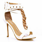 NEW Womens White Ankle Strap Gold Chain Stud T-Bar High Heel Sandals Shoes Size