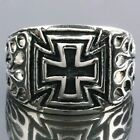Men's Stainless Steel Black Cross Crucifix Carved Fire Band Finger Ring Jewelry