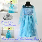 SamElsa Crown UkG Elsa Disney Frozen Girls Queen Costume Party Fancy Dress 2-7y
