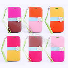Camellia Stand Wallet Card Clutch Strap Leather Case Cover Flip For Mobile Phone