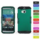 For HTC One M8 Turquoise Green-Blue Hybrid Rugged Impact Armor Phone Case Cover