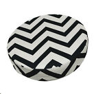 le01r Black Off White Zig Zag Cotton Canvas 3D Round Cushion Cover Custom Size