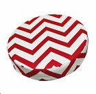 le02r Red Off White Zig Zag Cotton Canvas 3D Round Cushion Cover Custom Size