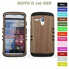For Motorola MOTO G (Faux) Wooden Bamboo Hybrid Rugged Impact Armor Case Cover