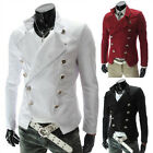 Fashion  Mens Double breasted jacket stand collar suits slim Blazer Coat UKLO