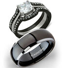 His Titanium  Hers 4 Pc Black Stainless Steel Wedding Engagement Ring Band Set