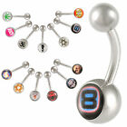 Pair Steel logo navel rings belly bars button piercing 9HJA-SELECT COLOUR&STYLE
