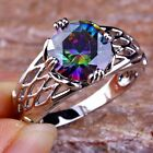Certified Round Cut Rainbow Topaz Gemstones Silver Rings Size 6 7 8 9 10 11 12
