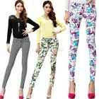 Fashion Women Slim Floral Print Cotton Jeans Flower Skinny Straight Pencil Pants