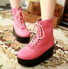 Womens Ankle boots Thick Platform Comfort Shoes Lace Up 3 Colors Velvet sweet