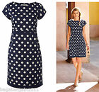 NEW WHITE STUFF NAVY BLUE IVORY SPOTTY POPLIN VINTAGE 40S 50S SUMMER TUNIC DRESS