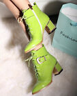 Womens Fashion Leather Over the Ankle Boots Heel Rock Studs Pointed Wing Toe