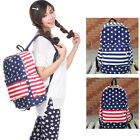 U5H Casual Women Girl Stripe Canvas Travel School Shoulder Bag Backpack Satchel
