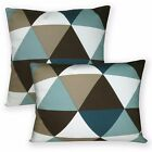 Ak336a Cream White Antique Blue Brown Triangle Cotton Canvas Cushion Cover/Case