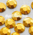 Gold (Any Size / QTY) hot fix Iron On Faceted rhinestuds Nice 6ss 10ss 16ss 20ss